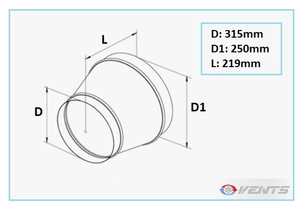 Réduction en acier de diamètre 315-250mm