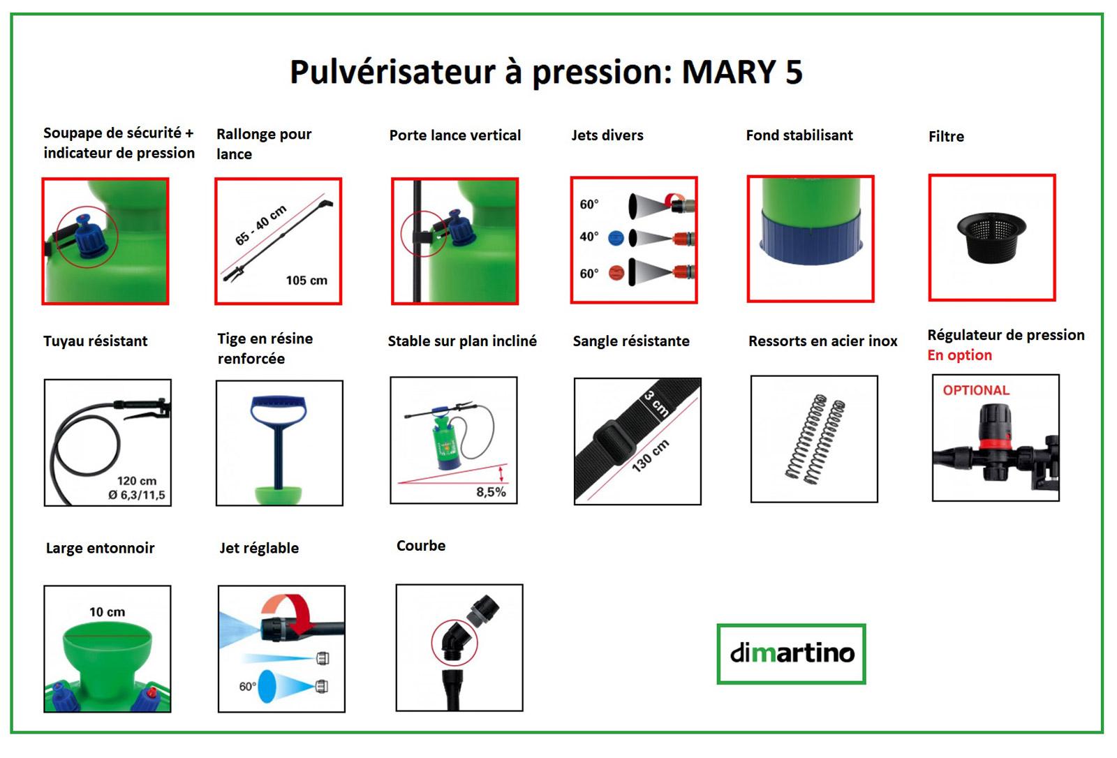 Pulvérisateur à pression Dimartino - MARY 5 litres