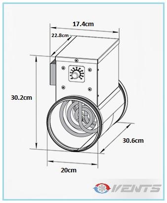 Dimensions du chauffage de gaine 1200W - Diam 200mm