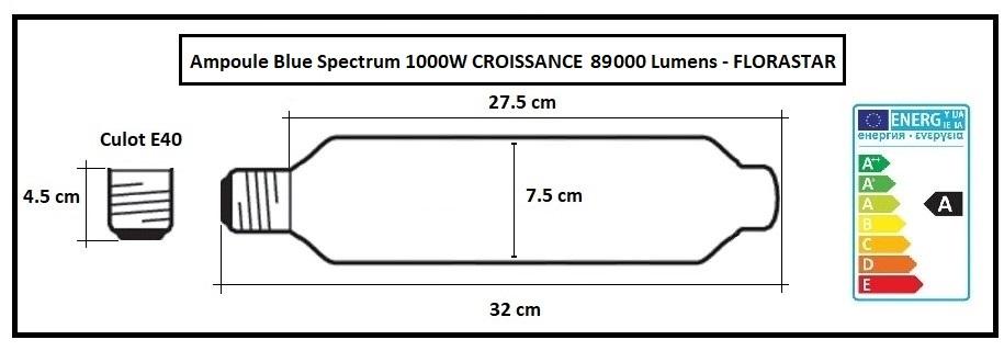 Ampoule de croissance horticole 1000W - MH 89 000 lumens