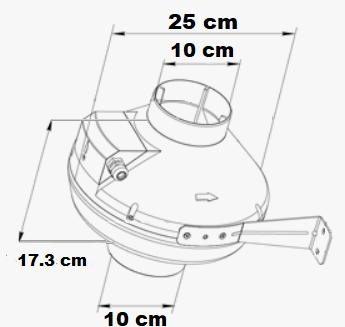 Extracteur rond au débit d'air de 250 m3/h