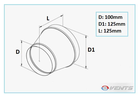 Réduction de ventilation en métal 125/100mm