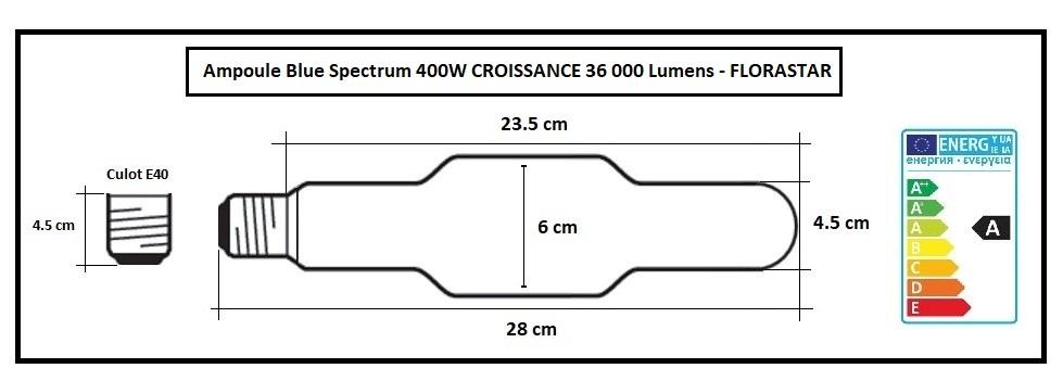 Ampoule de croissance 400W au spectre bleu 6000 K