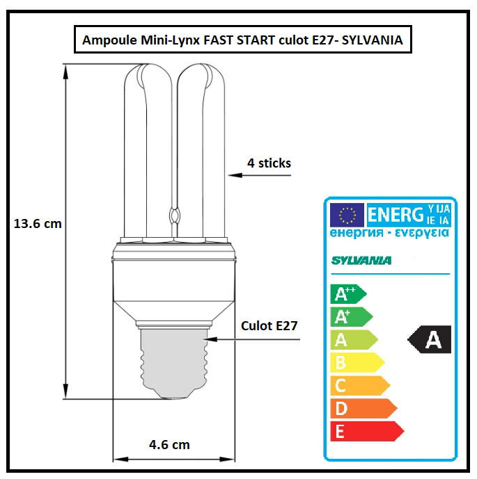 Lampe Fast Start 20W Sylvania 840 Cool White
