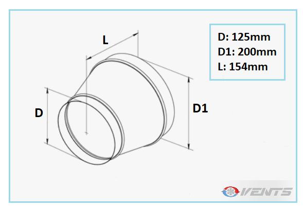 Réduction en acier galvanisé 200-125mm