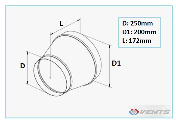 Réducteur de gaine de diamètre 250/200mm