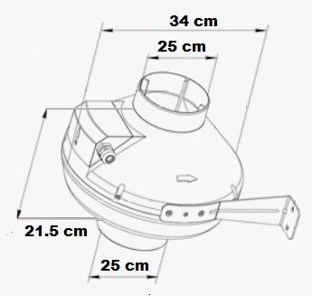 Dimensions et diamètre de connexion du ventilateur 1080 m3/h
