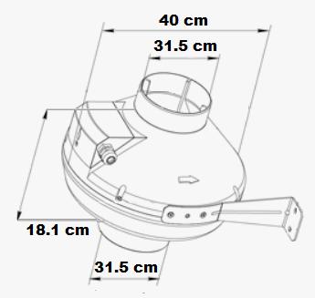 Ventilateur mono vitesse avec brides de connexion 31.5 cm