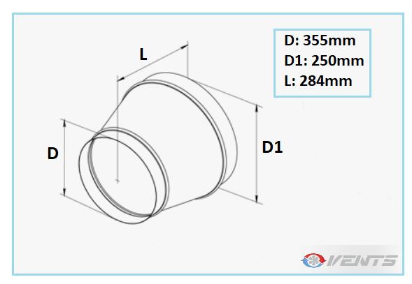 Réduction pour gaine de diamètre 355/250mm