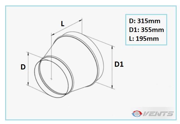 Réducteur de ventilation en acier 355-315mm