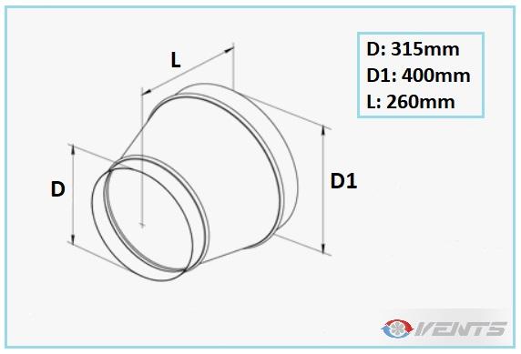 Réducteur de gaine 400-315mm