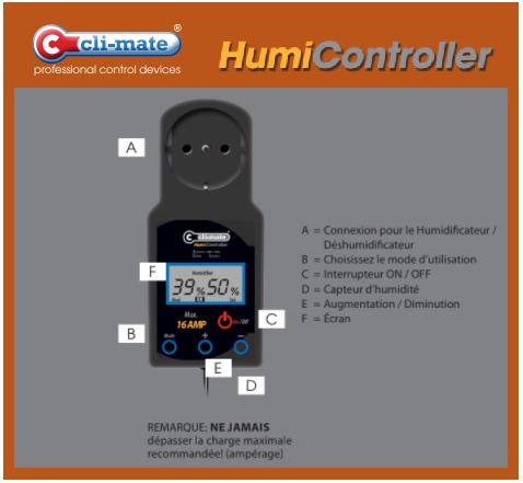 Contrôleur pour humidificateur et déshumidificateur Cli-Mate