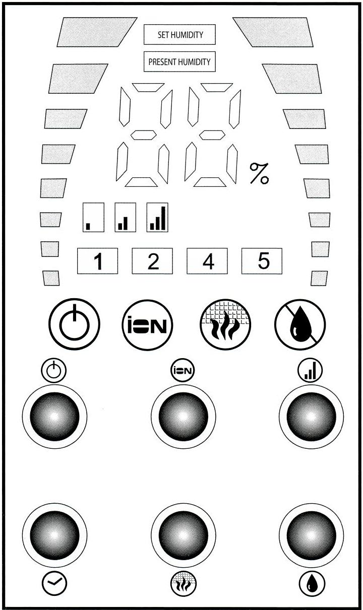Panneau de contrôle et de programmation de l'humidificateur d'air Qlima H509