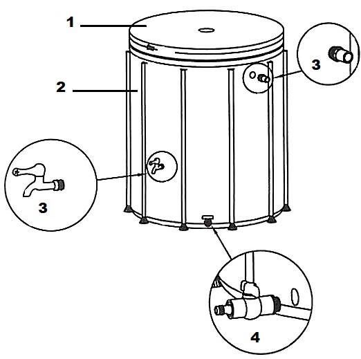 Cuve à eau flexible avec robinet de distribution