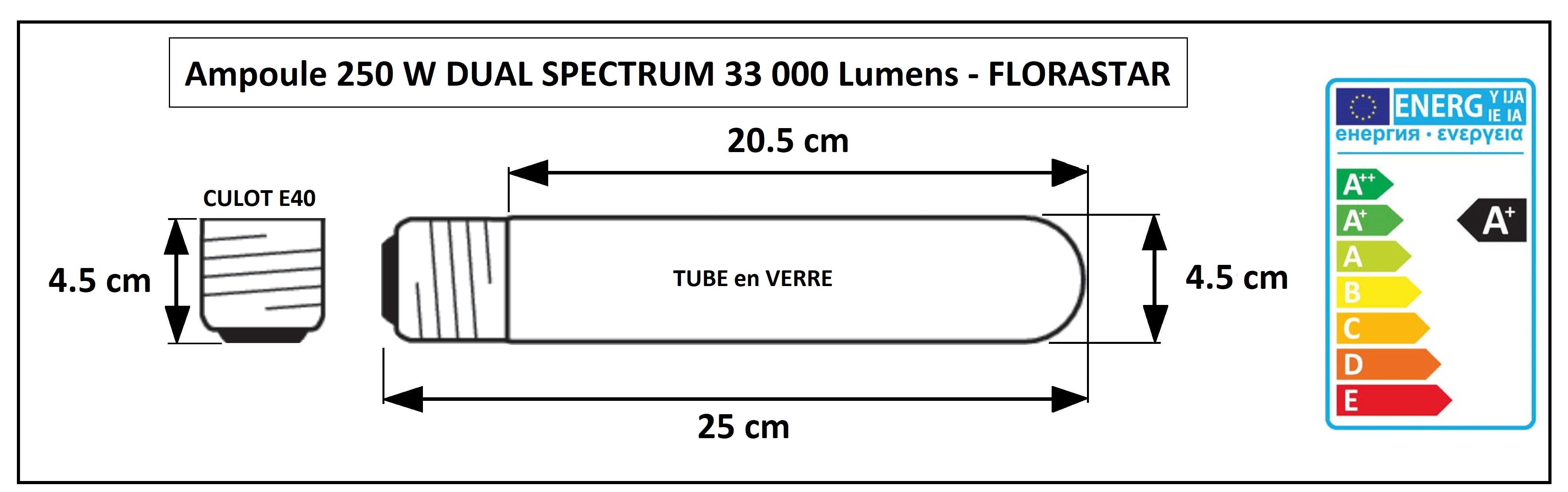 Dimensions de la lampe HPS double spectre 250W Florastar