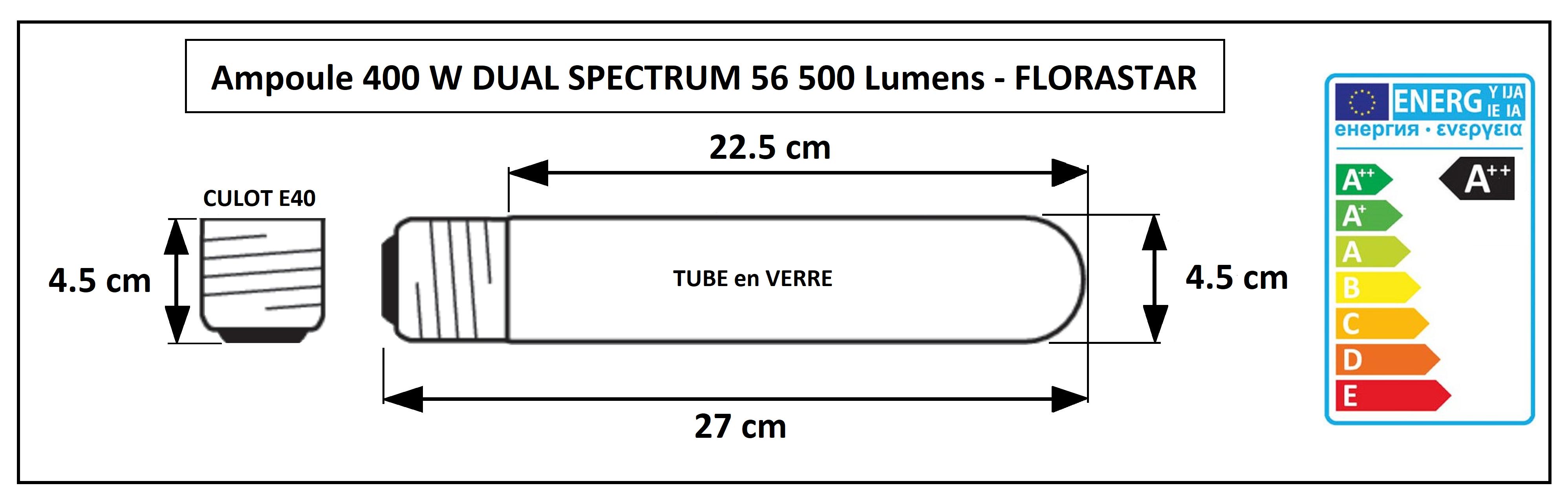 Dimensions de l'ampoule Dual Spectrum 400 W Florastar