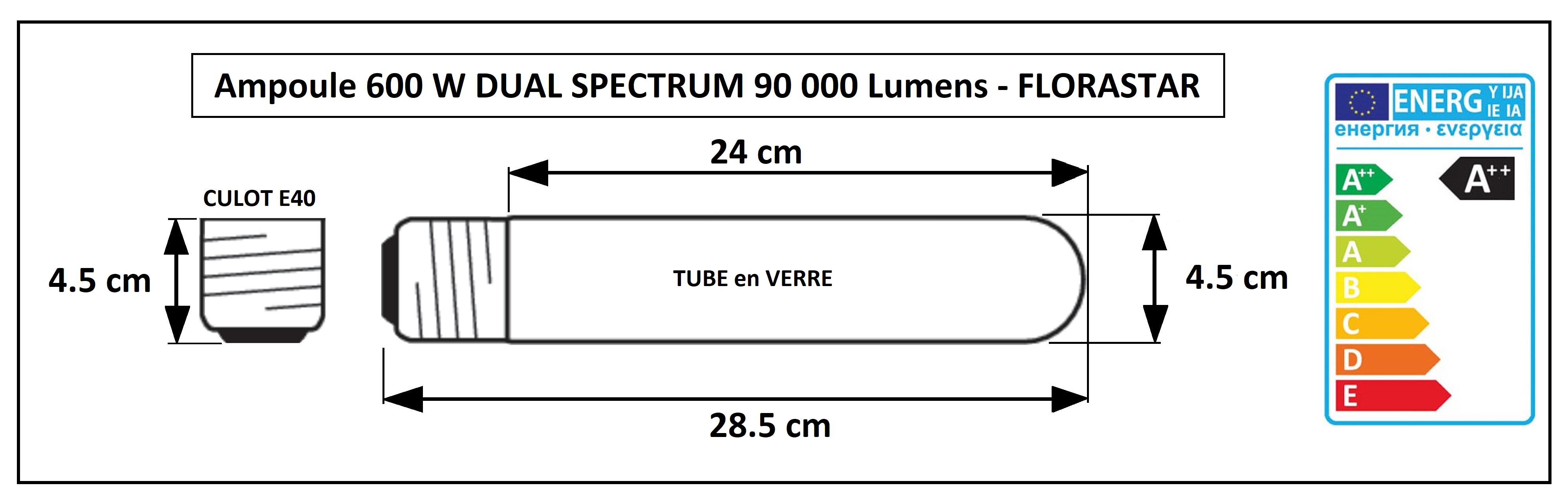 Dimensions de l'ampoule 600W croissance et floraison Florastar