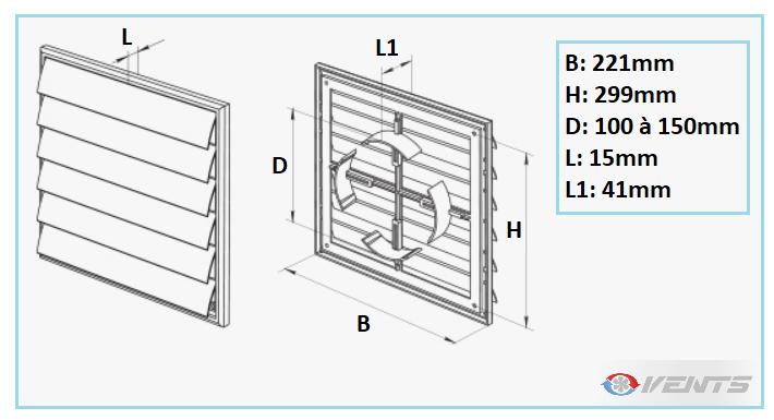 Grille de ventilation en PVC pour gaine de 100 à 150mm