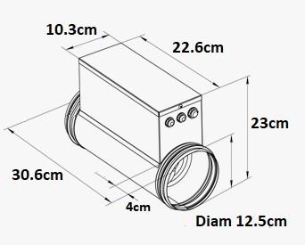 Chauffage de gaine VENTS 600W - sorties 125mm