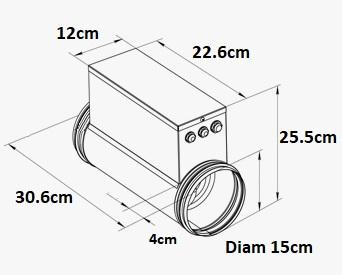 Dimensions du chauffage de gaine 1200W - 150mm