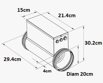 Chauffage 1200W pour conduit de ventilation rond 200mm