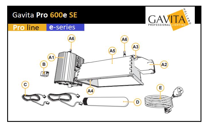 Eclairage complet Gavita Pro 600e SE
