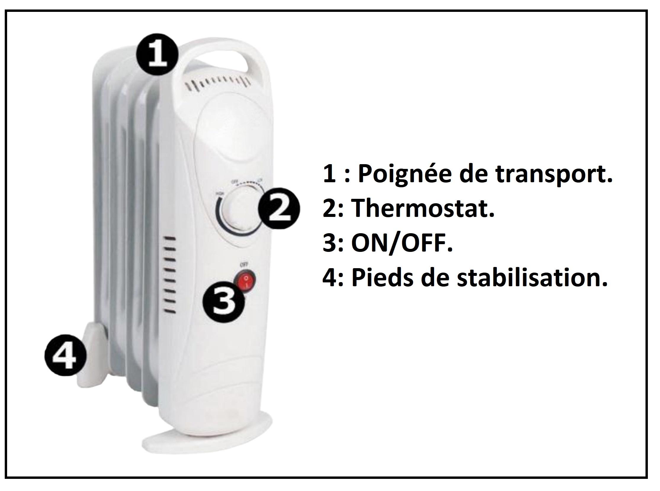 Radiateur / chauffage à bain d'huile Perrel de 700W