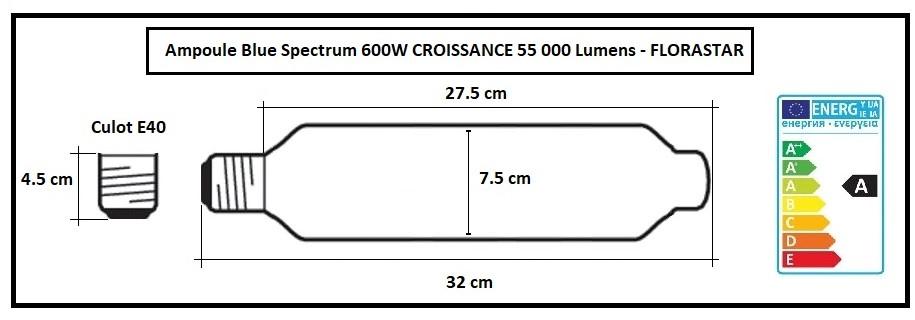 Ampoule 55 000 lumens MH 600W pour la croissance indoor