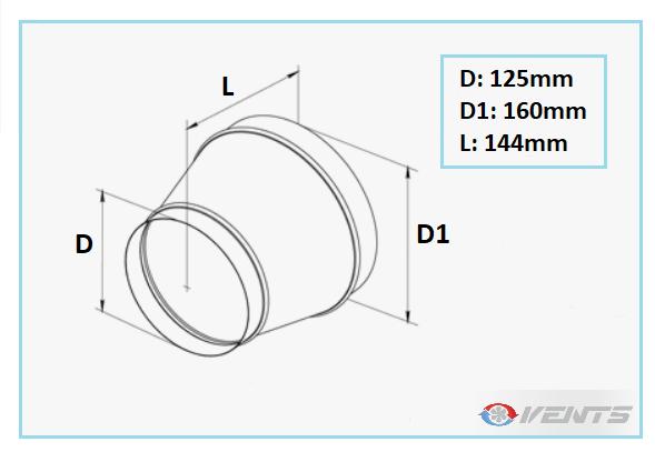 Réduction métal pour conduit de ventilation rond 160/125mm