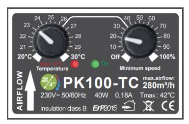 Boitier de commande de l'extracteur thermostatique Prima Klima 280m3/h