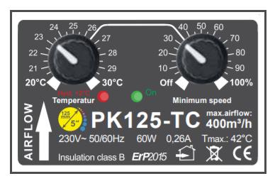 Extracteur avec thermostat et variateur de débit d'air max 400m3/h