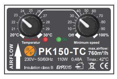 Extracteur d'air avec contrôleur climatique et capteur de température Prima KLima