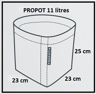 Dimensions du pot en feutre textile 11 litres