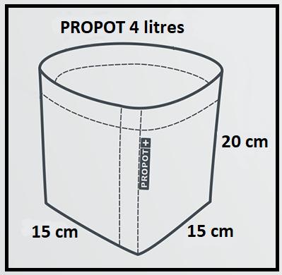 Dimensions du pot textile 4 litres Garden High Pro