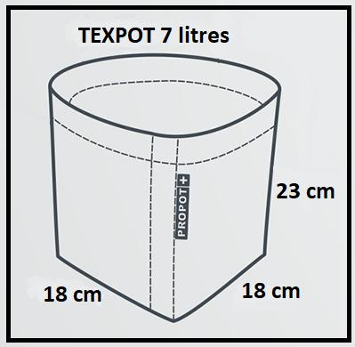 Dimensions du pot géotextile 7 litres