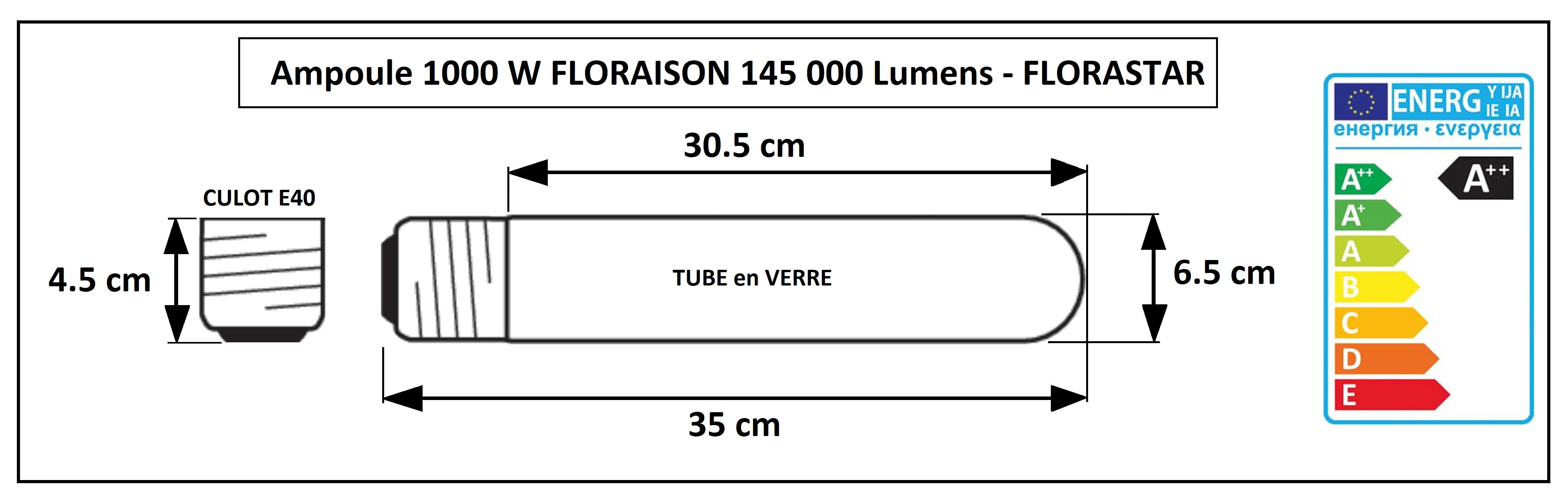 Ampoule HPS 1000 Watt floraison 2000K Florastar