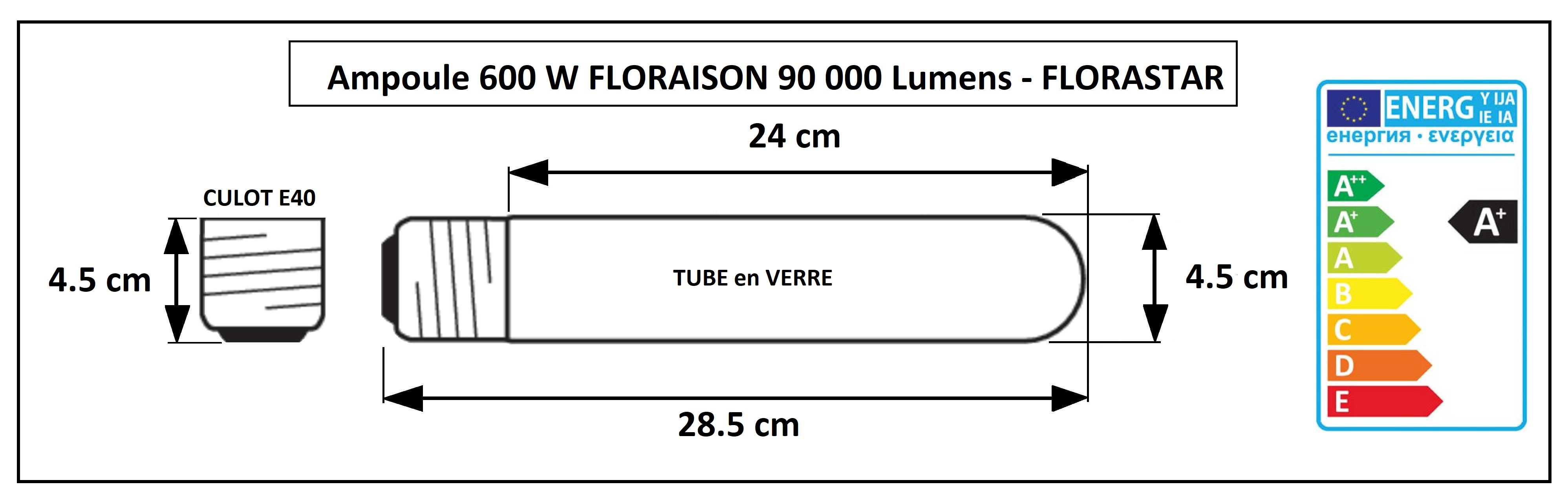 Lampe de floraison 600W pour culture florale intérieur