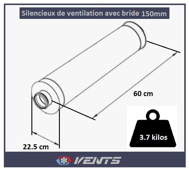 Silencieux Ventilation System pour conduit d'air de diamètre 150mm