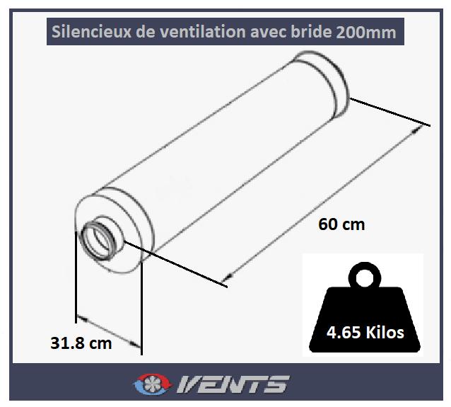 Silencieux de ventilation avec brides de connexion 200mm
