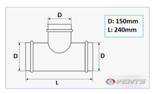 Té de raccordement 150mm pour conduit de ventilation