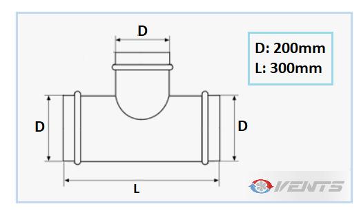 Dérivation Té en acier de diamètre 200mm
