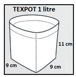 Dimensions du Texpot blanc de 1 litre