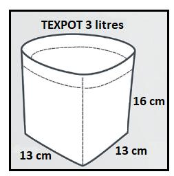 Dimensions du pot textile blanc 3 litres Texpot