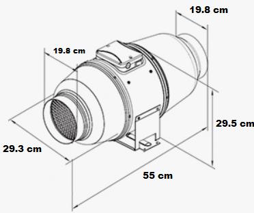 Extracteur insonorisé avec entrée et sortie d'air diamètre 200 mm