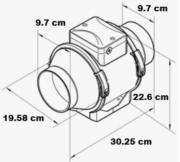 Extracteur en ligne à 2 débits d'air avec sorties 100 mm