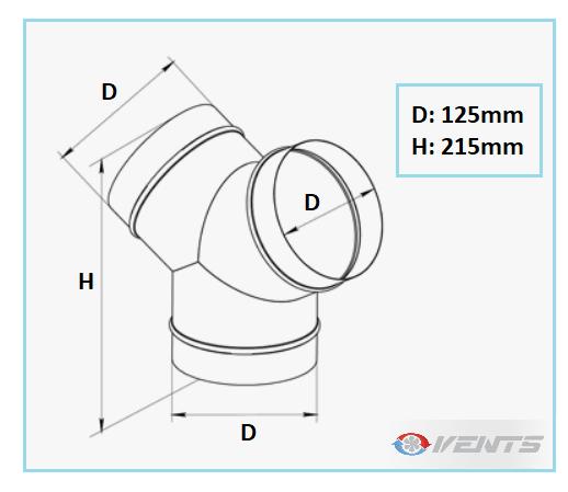 Raccord de ventilation 3 sorties de diamètre 125mm