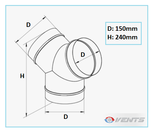 Raccord de ventilation en Y de diamètre 150mm