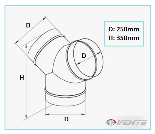 Dérivation de ventilation 3 sorties de diamètre 250mm