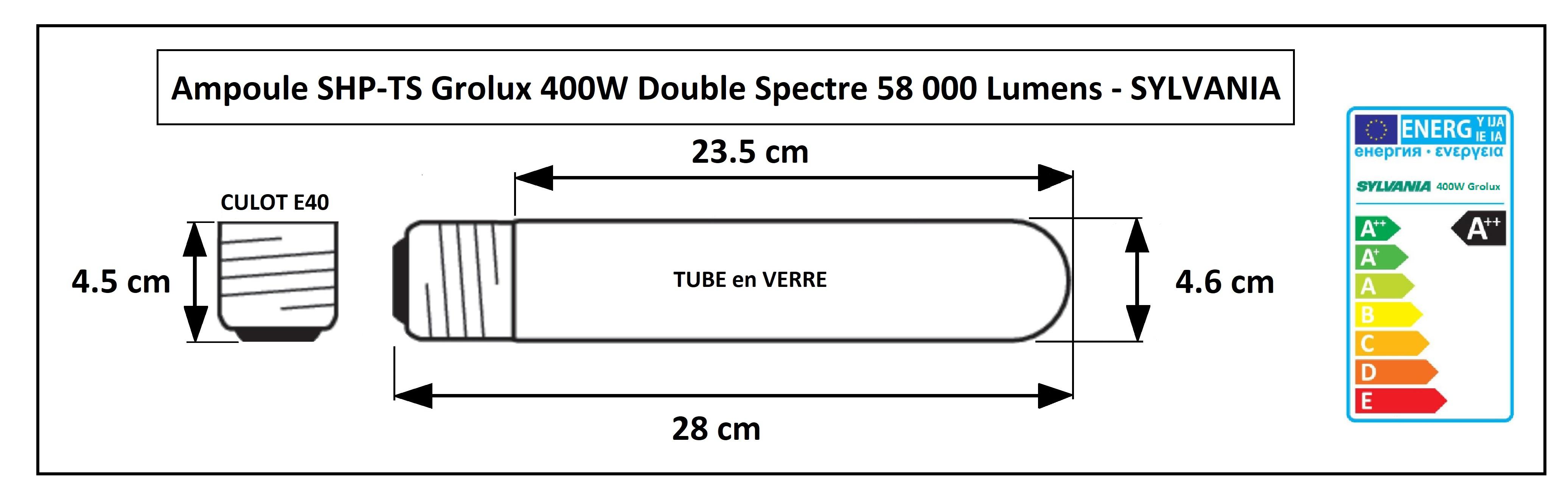 Dimensions de la lampe Agro 400W Sylvania Grolux