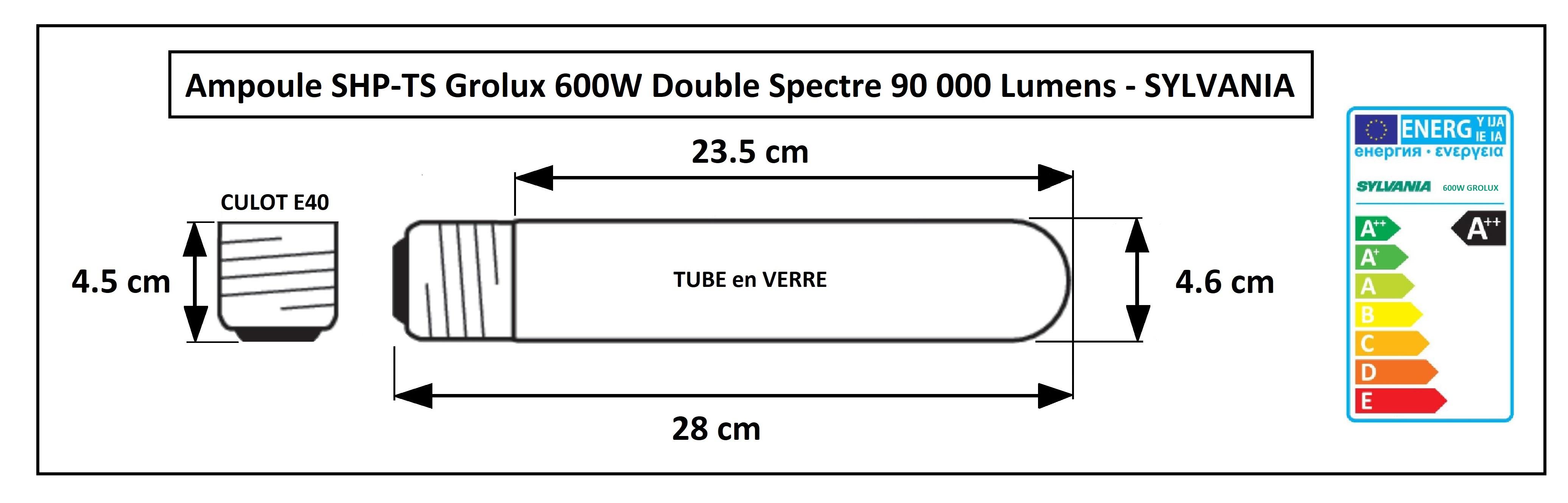 Cractéristiques de l'ampoule Grolux 600W agro
